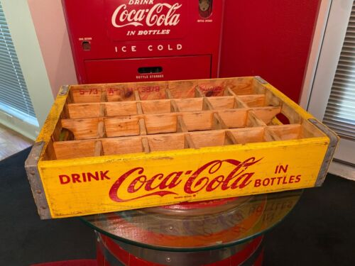 Coca-Cola 1950s Yellow 24-Bottle Wooden Crate By Durabilt Illinois Glass Co