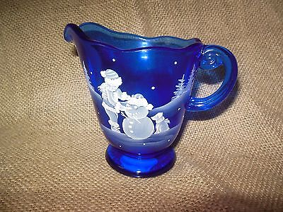 FENTON ART GLASS COBALT BLUE PITCHER WITH MARY GREGORY STYLE WINTER SCENE
