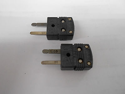 Lot Of Two X Omega Mini J Type Thermocouple Plug Male Ir-co Pins