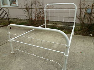 Antique / Vintage White Steel and Cast Iron Bed Frame  - Full Size