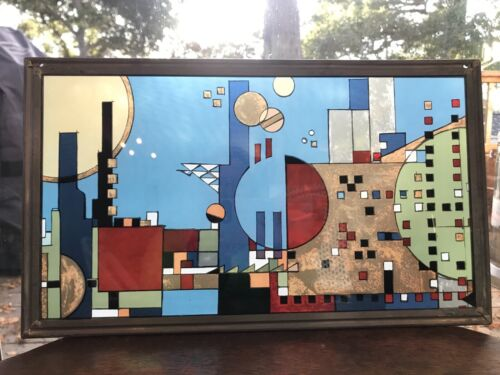 FRANK LLOYD WRIGHT COLLECTION STAINED GLASS GEOMETRIC WINDOW CITYSCAPE