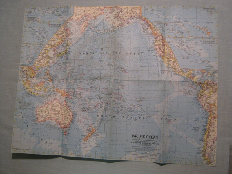 VINTAGE PACIFIC OCEAN, NEW ZEALAND NEW GUINEA MAP National Geographic April 1962