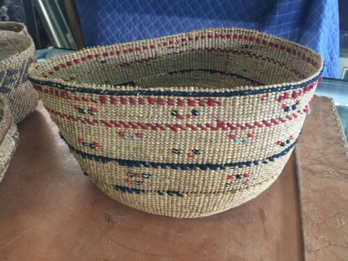 Large Antique  Indian Basket with Imbricated Wool Design