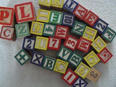 37 Vintage Wooden ABC Building Blocks w/Numbers Alphabet Learning Toys