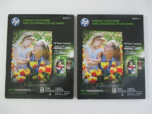 """2 PKG 50 EACH NEW HP EVERYDAY GLOSSY PHOTO PAPER TOTAL 100 SHEETS  8.5"""" X 11"""""""