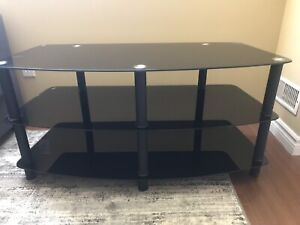 Tempered Black Glass TV Stand