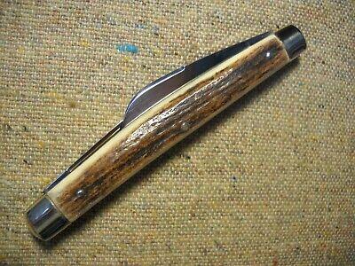 vintage Gutmann Solingen Germany Hen & Rooster Half Congress Knife German Stag