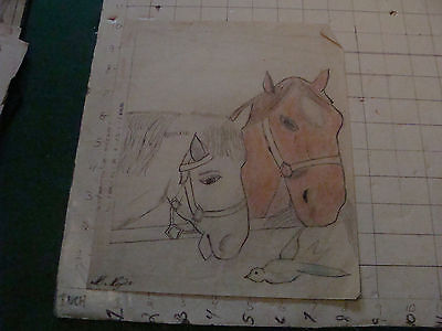original MEIJER art: HORSES and bird, SIGNED circa 1930's or 40's