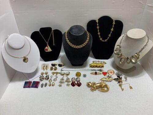 Vintage Lot Necklaces Brooches Earrings Bracelets Some Signed Napier Monet &more