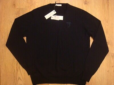 VERSACE CREW NECK 100% WOOL JUMPER DARK BLUE SIZE XL BNWT