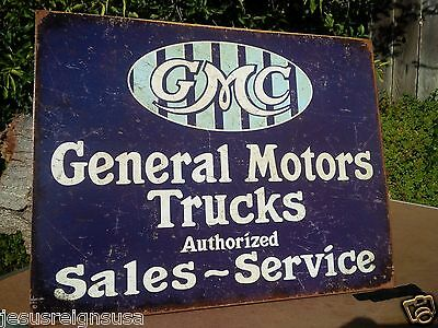 General Motors Gmc Sales Rustic Collectible Tin Metal Classic Sign Poster Garage
