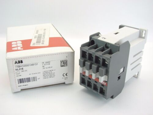 NEW ABB 1SBH143001R8131 24 VDC 4-POLE CONTACTOR RELAY NL31E 3-NO 1-NC (B444)