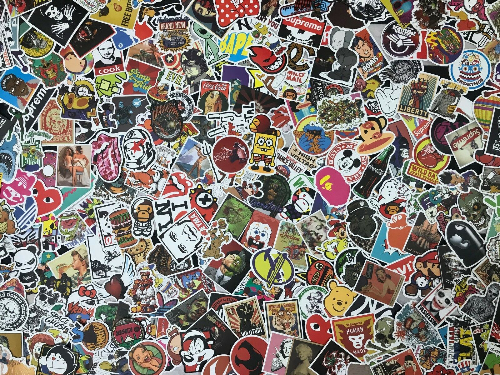 Lot 100 Random Vinyl Laptop Skateboard Stickers Bomb