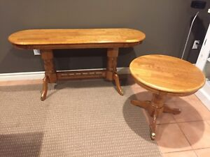 Solid oak sofa table and side table