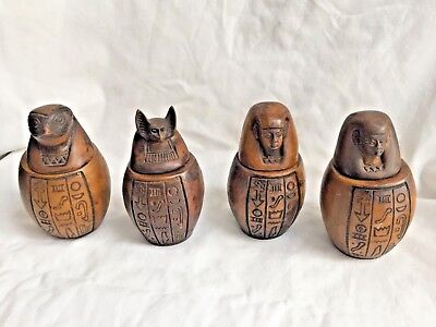Egyptian Canopic Jars Set Large Resin Brown 4.5