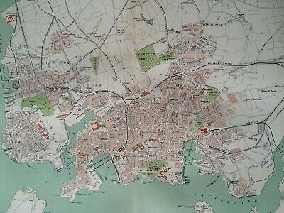 1895 Plymouth, Stonehouse & Devonport Original Antique Map UK England City