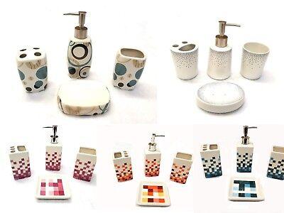 4 Piece Elegant Ceramic Bathroom Accessory Set - Geometric Design