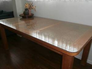 Pine dining table with glass top Kippa-ring Redcliffe Area Preview