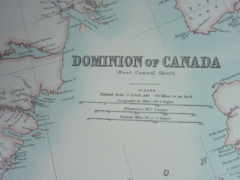 1910 MAP ~ DOMINION OF CANADA WEST CENTRAL SHEET ONTARIO MANITOBA SASKATCHEWAN