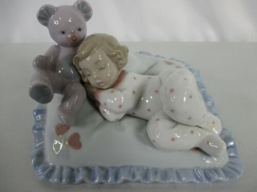 Lladro Counting Sheep Baby Girl With Teddy Bear 6790 Figurine Spain with Box