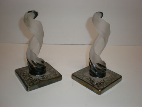 FROSTED GLASS & SILVER OVERLAY FLAMES - TALL CANDLE HOLDERS - ART DECO - NOUVEAU