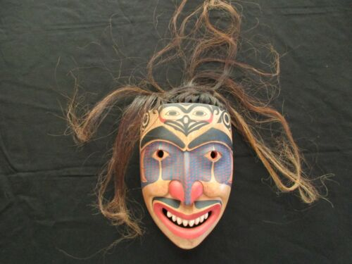 """CLASSIC NORTHWEST COAST DESIGN, LARGE CARVED MASK WITH HAIR, """"WARRIOR""""  WY-4662"""