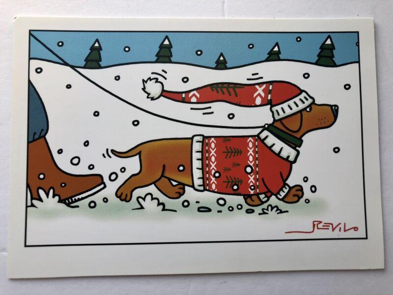 Dachshund in Christmas Sweater & Santa Hat Revilo Signed Hallmark Shoebox Card