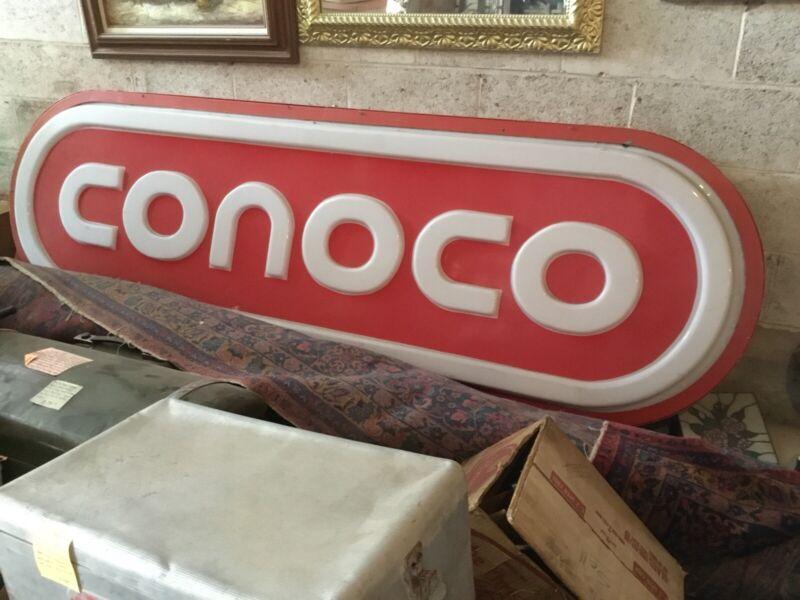 Vintage Huge Conoco Gas And Oil Sign Original 8 Feet Long.