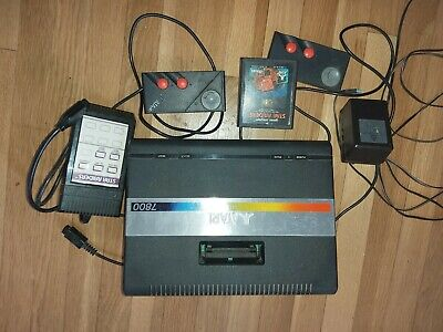 atari 7800 console, with 2 controllers, power cable