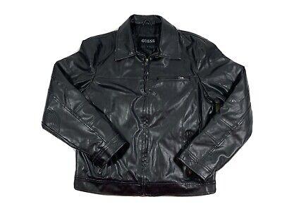 Men's Black GUESS Moto Style Leather Jacket, Size Large
