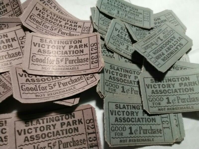 40 Vintage Antique Slatington PA Post WW1 1920s Victory Park Association Tickets