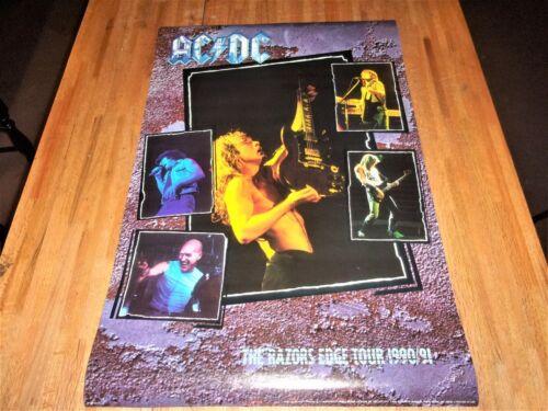 Vintage AC/DC 1990 - 1991 Razors Edge Tour Poster 23 X 35   NEW OLD STOCK