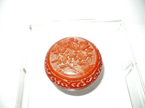 "Vintage 3"" Round Lidded Red Cinnabar Trinket Box Flowers Blue Enamel Interior"