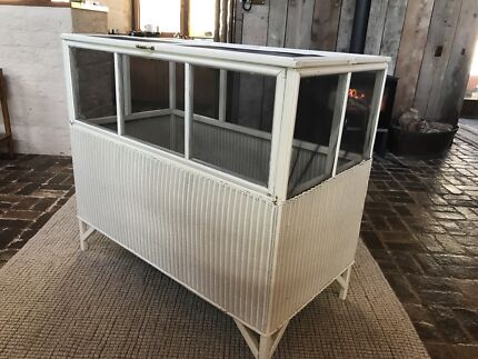 Vintage antique shabby chic cane wicker cot (meat safe cot)