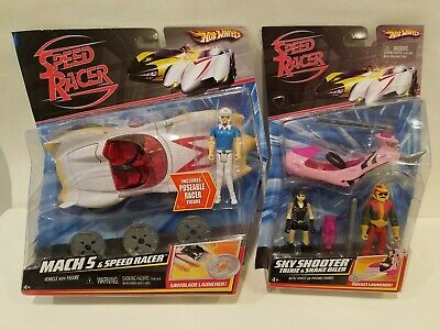 Hot Wheels Speed Racer Lot MACH 5 & SKY SHOOTER Trixie & Snake Oiler Rare 2007 - Speed Racer Trixie