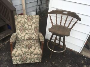 2 chairs in need of repairs