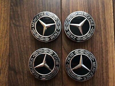a58897aac48 Alloy Wheel Centre Caps Black Set (4) Genuine Mercedes Benz 2018 New Design  for