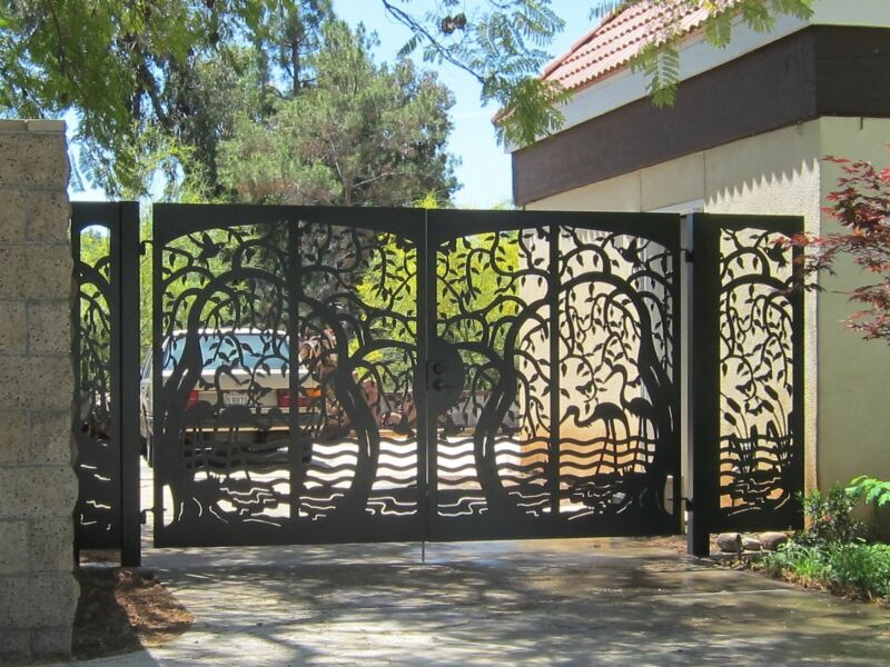 Custom Driveway Gate Walk Thru Entry Metal Panels Garden Iron Steel Estate Birds