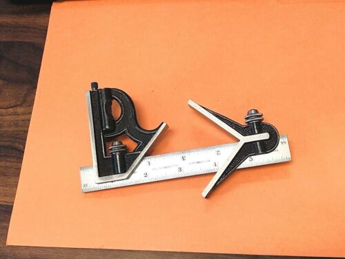 STARRETT 6 Inch Long Blade Combination Square With Square & Center Heads. USA.
