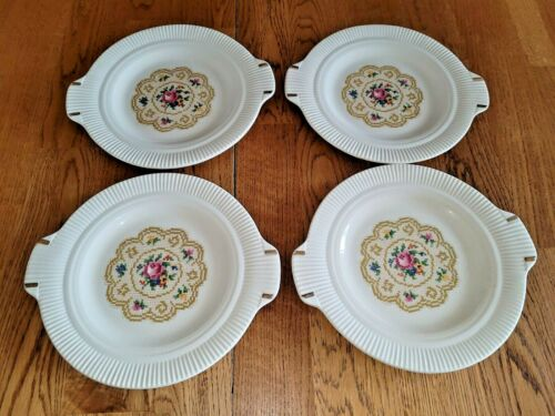Lot 4 Plates Doily Petit Point Victory Salem China Co Handled Ribbed Needlepoint