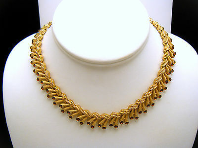 Crown Trifari Vintage Necklace Chantilly Elegant Brown Rhinestone Tips Gold Tone on Lookza