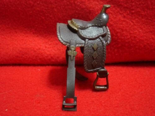 Marchon Plastic Toy Western Horse Saddle 1989 Dark Brown & Bronze
