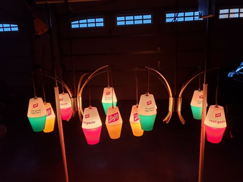 Ultra Rare Pair Schlitz Beer Six Pendant Hanging Lights Chandelier Lamp