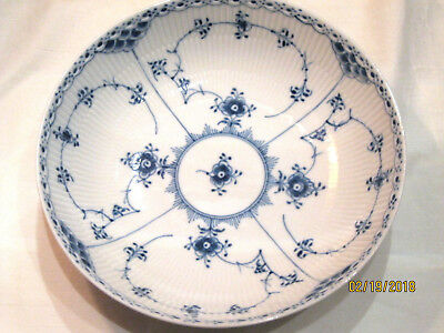 "ROYAL COPENHAGEN BLUE FLUTED HALF LACE SERVING BOWL 8-1/2"" DIAMETER"