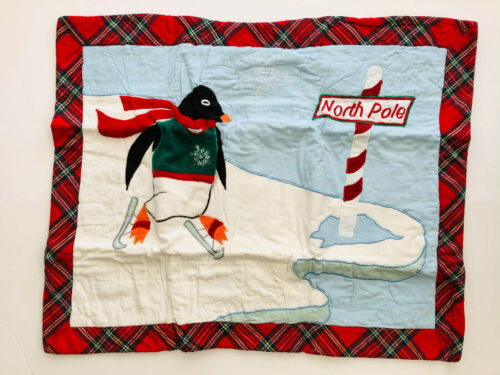 HOLIDAY PENGUIN ICE SKATING at NORTH POLE * standard QUILTED, APPLIQUED * NIP
