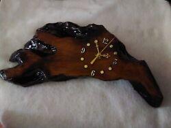 Vintage Lacquered Tree  Wood slab dark color Wall Clock