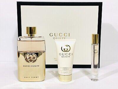 GUCCI GUILTY POUR FEMME WOMEN PERFUME GIFT SET EDP SPRAY 3.0 OZ + MINI + B/L NIB - Gucci Gift Set Spray