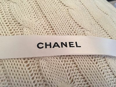 CHANEL Classic White Satin Logo Ribbon - Extra Long 2 metres