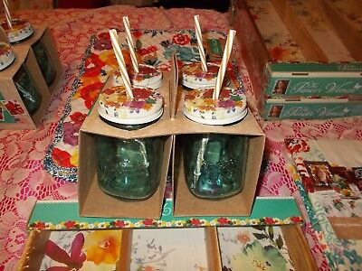 The Pioneer Woman SET 4 Turquoise Drinking Glass Mason Jars w/ Lids & Straws NIB
