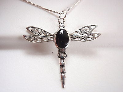 - Black Onyx Dragonfly Necklace 925 Sterling Silver Corona Sun Jewelry